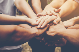 دست های گره زده برای رسیدن به هدف در کار تیمی و رهبری تیمی